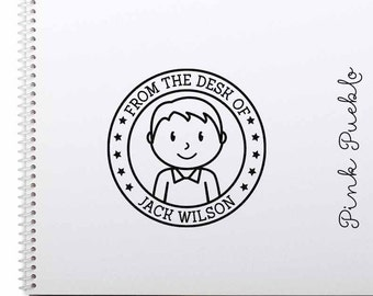 Personalized Rubber Stamp for Boys, Custom Kids Rubber Stamp - Choose Hairstyle and Accessories