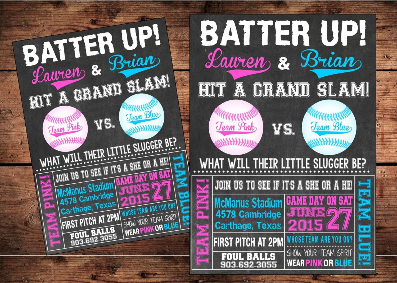Team Pink or Team Blue Baseball Gender Reveal Invitation