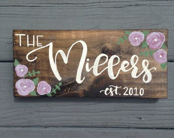 Family Name Sign, Establishment Sign, Wedding, Anniversary, House Warming, Custom Name Sign, Hand Painted Wood Name Sign, Floral Family Sign
