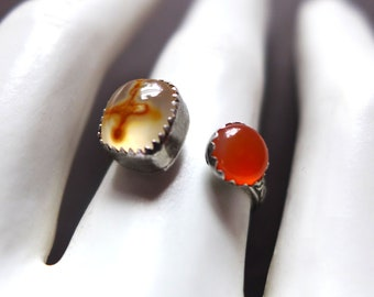 Cross Agate Carnelian Sterling Silver Ring, Jerusalem Stone Silver Ring, Religious Christian Gemstone Cross Ring, Honey Agate Gemstone Ring