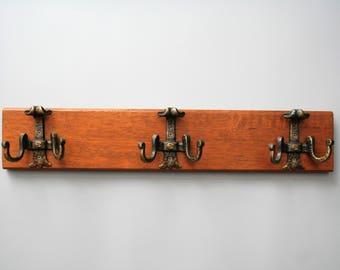 Vintage Wooden Coat Rack with 3 Spelter ( Metal) Hooks-Vintage European Coat Rack