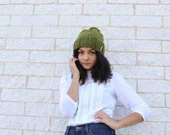 Ready to ship, Women's winter hat, Knit slouchy hat, Green hat - Knit skull cap - The Pryanka, Curly girl fashion, Gift idea