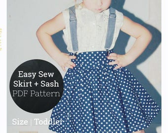 Skirt and Bow Girls PDF Pattern Baby Clothes Pattern Beginner Sewing Pattern Easy Twirl Skirt Pattern Toddler Sizes 18-24 months 2T 2 3T 3