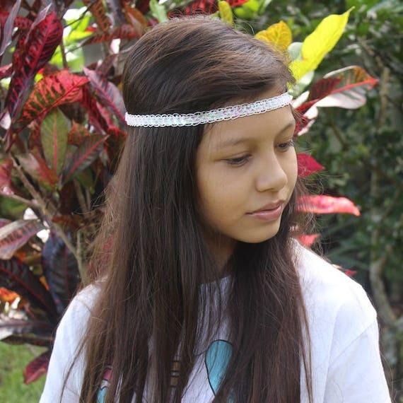 White Forehead Headband, Boho Headbands, Boho Headband White, Adult Boho Headband, Bohemian Headband, Halo Headband, Bridal Headband