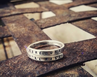 Maya Angelou Hand stamped Silver Quote Ring 'Like Dust I'll Rise' Sterling Silver -Adjustable