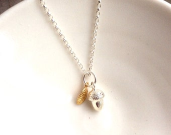 Silver Acorn with Gold Leaf Necklace