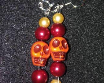 Orange Skull Earrings #3 Orange Sunburst
