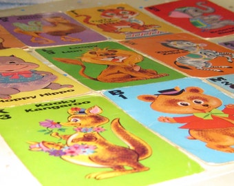 Vintage Animal Rummy Playing Cards--Set of 11