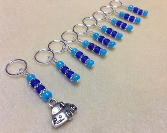 Knitting Stitch Markers, Gifts for Knitters, Snag Free Progress Markers, Volkswagen Beetle, Car Charm