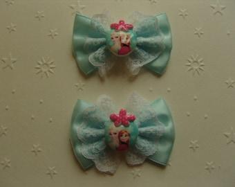 Frozen, set of 2 cabochon and blue satin ribbon bow