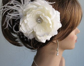 Ivory (White) Bridal Flower Hair Clip Wedding Accessory Crystals Feathers Bridal Fascinator Bridal Accessory