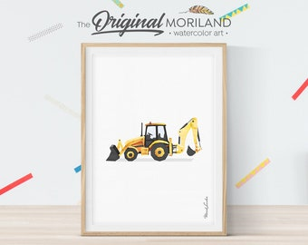 Backhoe Loader Print, Digger Print, Construction Wall Decor, Boy Bedroom Decor, Transportation Wall Decor, Truck Print, Birthday Printable