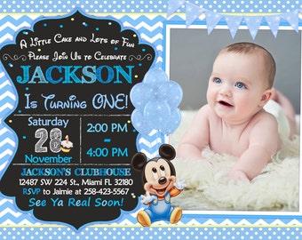 Mickey mouse birthday invitation 1st birthday invitation baby mickey mouse first birthday invitation baby mickey mouse first party filmwisefo