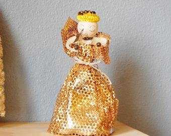 Vintage 1950s Spun Cotton Chenille Foil Xmas Angel Christmas Shiny Brite Large Size