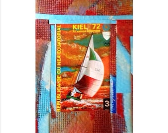 Sailboat art card with Kiel 72 Sailboat 1972 postage stamp.