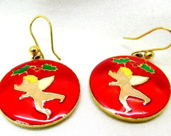 Vintage Christmas Enamel Dangle Cupid Pierced Earrings
