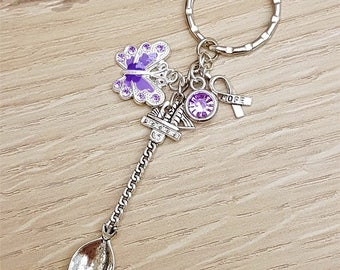 Fibromyalgia Fibro Awareness Purple Butterfly Spoonie Bag Charm Keyring