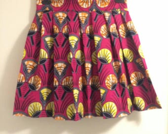 Pink African wax print skirt
