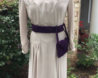 WWII era reproduction crochet Belt, bag and bandeau set