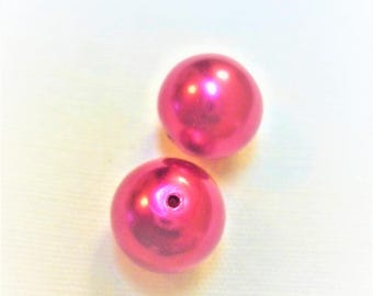 2 beads pink Burgundy Pearl 11mm