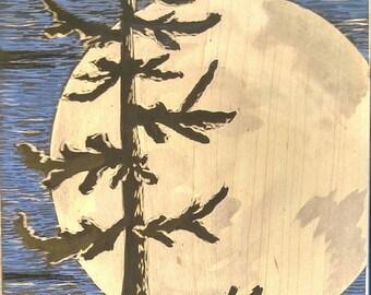 Full Moon, moon art, moon painting, tree with Full Moon, night sky