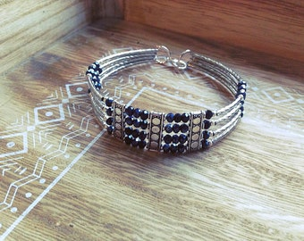 THREE women, silver, black bracelet, Pearl, gift, gift, Crystal, made with love