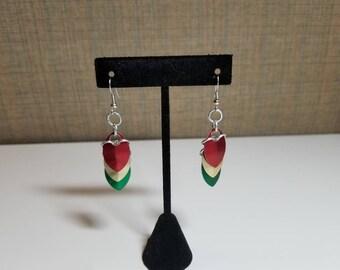 Rastafarian scale drop earrings