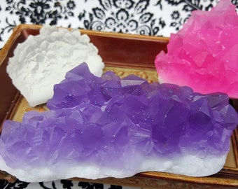3 Geode Soaps - Geode Cluster Soaps - Amethyst Soap - Geode Soap Gift - Chakra Crystal Soap - Pink Aura Quartz Soap - Quartz Cluster Soap