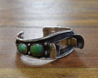 Vintage Green Turquoise Sterling Silver Watch Cuff Bracelet