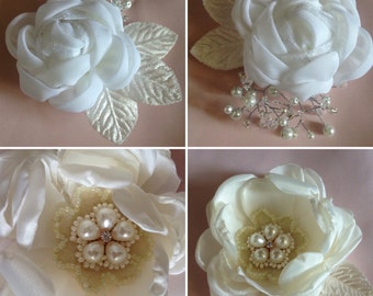 Handmade Bridal Flower Hair Clips - available in other colours upon request