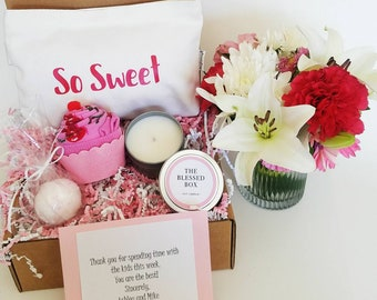 Thank you gift box. Gift for Bridesmaid. Teacher gift. Hostess gift. Appreciation gift. Summer gift basket. Shower favors. Bridal party gift