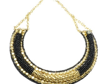 Black Beads Necklace, Choker, Ethnic Necklace, Bohemian, Brass Beads, Gold, Boho Chic, Statement Piece, Unique, Glass Beads, Simple, Black