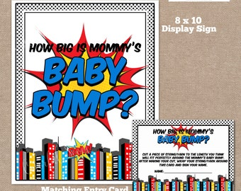 INSTANT DOWNLOAD, Superhero How Big is Mommy's Belly Game, Belly Guessing Game, How Big is Mommy's Belly, Superhero Baby Shower, #0008