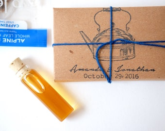 Tea party favors. Organic tea and honey packaged in an eco-friendly custom box. Rustic Wedding Gift. Set of 10.
