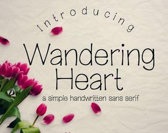 Digital Font Download- MRF My Wandering Heart- handwritten font for commercial use-True Type Font ttf- Open Type Font otf- instant download