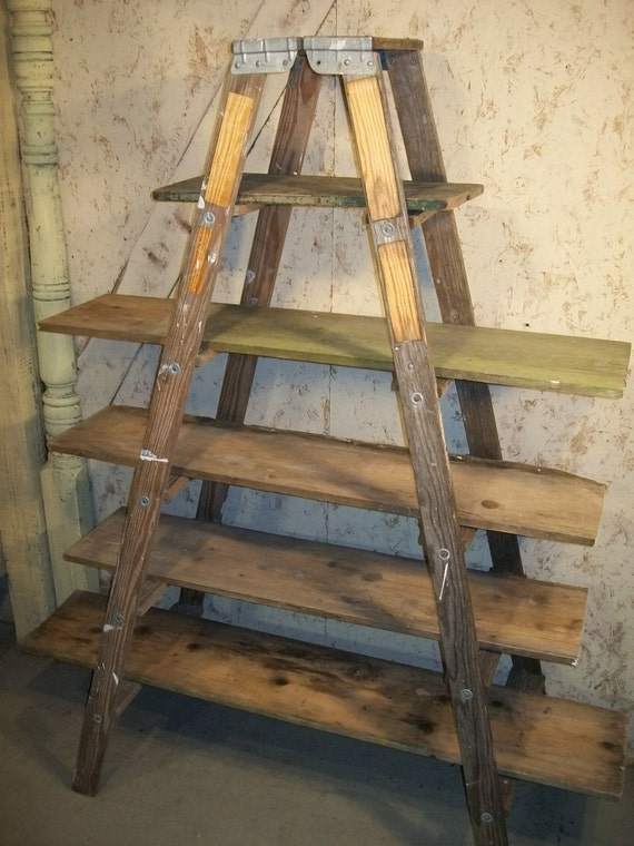 double 6 step ladder shelf frame we will paint or leave it natural - Wooden A Frame Ladder