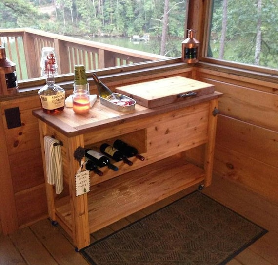 Outdoor rustic wooden cooler bar serving or console table for Wooden beer cooler plans