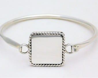 Vintage Sterling Silver Initial Bangle Bracelet