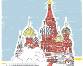 Travel art, St. Basil's Cathedral, Moscow print, Russia Travel print, Moscow Illustration, City Print, Architectural Print, Travel Print,