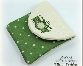 bag for camera accessories and lens cap, green, off white, for camerastrap