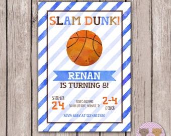 PRINTABLE- Watercolor- Basketball Birthday Invite- Basketball Party Invite- Boy Birthday Invite- 5x7 JPG