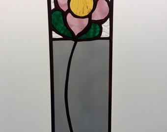 Mini panel with single daisy - smoked grey, dusty pink, golden yellow, ocean green and textured clear glass.