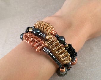 Metal wire coil wrap bracelet free shipping