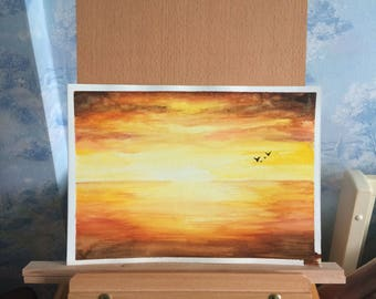 Original Watercolor Painting - A4 - sunset watercolor, seascape painting, bright sunset, yellow watercolour