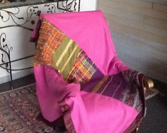 """Plaid laine et  patchwork de tissages """"haute couture"""" colorés"""