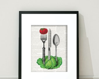 Lettuce, Utensils, Tomatoes, Vegtables, Kitchen Prints, Lettuce Ephemera, Utensils Ephemera, Vintage Vegetables, Vegetarian, Vegetarian Art