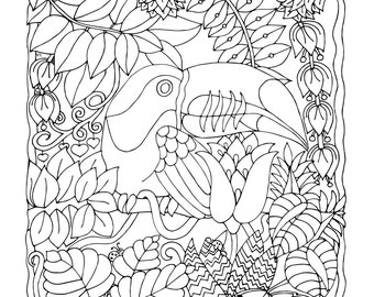 Toucan Paradise, 1 Adult Coloring Book Page, Printable Instant Download