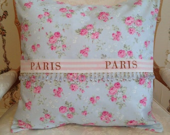 French Country Pillow Sham, Shabby Chic Sham, Decorative Pillow, Blue and Pink Wild Rose Pillow, Paris-Inspired Pillow, Accent Pillow Sham