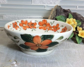 Sweet orange flowers, ceramic bowl, pottery bowl, hand painted bowl, floral bowl, wheel thrown ,hand painted