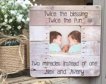 Twins gifts etsy on sale twins picture frame twin gift twin girls twin boys twin babies personalized picture frame negle Image collections